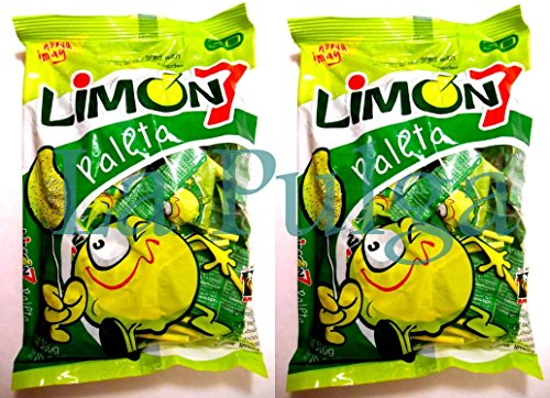 2 - Limon 7 Paleta Lollipop Covered with Lemon & Salt Powder Candy - 30 pcs Each