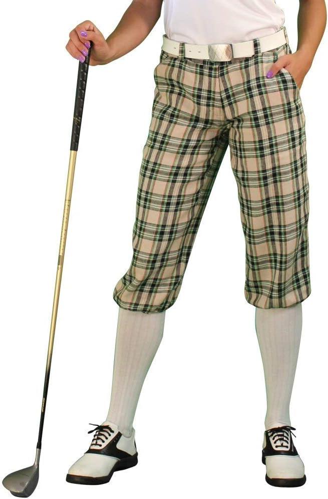 1920s Style Women's Pants, Trousers, Knickers, Tuxedo Golf Knickers Plaid Womens Par 5 - Khaki Stewart  AT vintagedancer.com