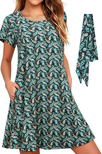 Vestido Casual de Verano para Mujer con Bolsillos Túnica Holgada cómoda y Holgada Hawaii Aqua Paisley Vestidos con cinturón