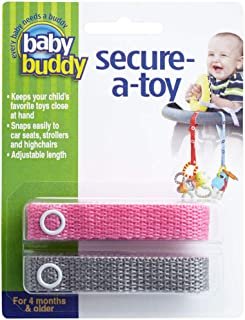 Baby Buddy Secure-A-Toy, Safety Strap Secures Toys, Teether, or Pacifiers to Strollers, Highchairs, Car Seats—Adjustable L...