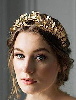 Chargances Bridal Gold Leaf Crown Headband Bridal Tiara Gold Leaf headpiece for Weeding Prom Festival Bridesmaid Hair Accessoriecs(Gold)