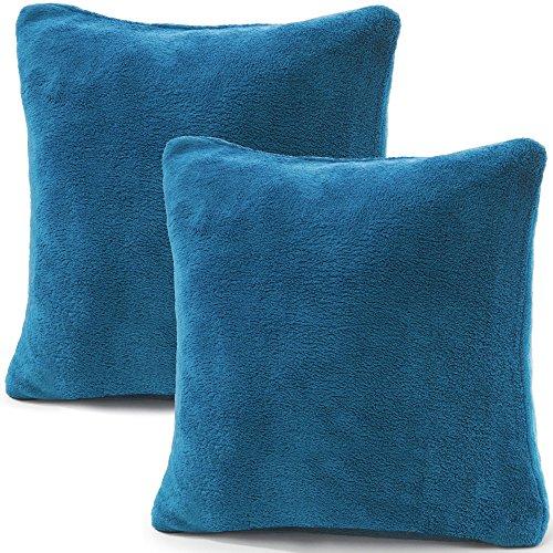 CelinaTex 2er Set Kissenbezug 80x80 cm Doppelpack Coral Fleece Kissenhülle, Kopfkissenbezug Kissen Überzug Comfortable royal blau 5001349