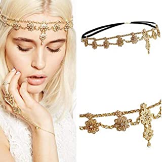 YERTTER Women Boho Vintage Silver Gold Head Chain Headpieces Hair Accessories Party Hair Jewelry for Women and Girls (Gold)