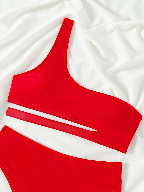 MakeMeChic Women's Sexy 2 Piece Bikini Set Cut Out One Shoulder Swimsuit
