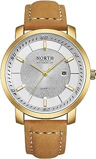 NORTH Mens Watch, Luxury Men Watches Military Wrist Watch for Men, Brown Leather Gold Sport Quartz Watch