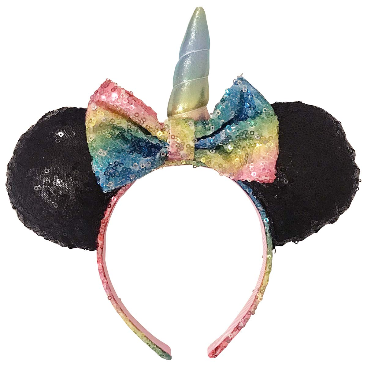 Women Girl Cute Minnie Mouse Ears Bow Headband Hen Mickey Party 2Pcs