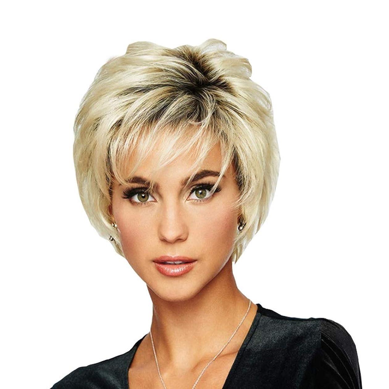 大臣ゆるく種類WASAIO レディースファッションショートビッグウェーブヘアー耐熱ウィッグ (色 : Blonde)