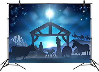 LB Birth of Jesus Backdrop for Photography 7x5ft Poly Fabric Christmas Night Manger Nativity Background Farm Barn Stable Christian Backdrop Customized Photo Background Studio Props