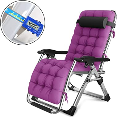 Oversized Zero Gravity Lounge Chairs Recliners,Adjustable,Folding,Purple Padded Reclining Chair Chaise,Supports 550lbs,Suitable for Beach,Patio,Pool,Deck,Garden,Camping