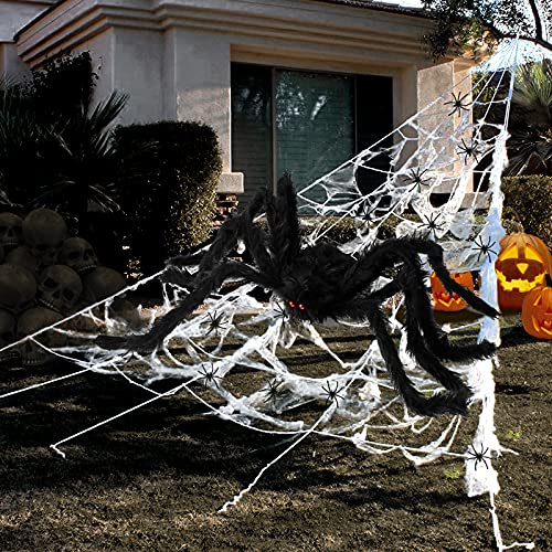 """Halloween Decorations Outdoor 295"""" Halloween Spider Web Decor 59"""" Scary Giant Spider 100 Small Fake Spiders 40 g…"""