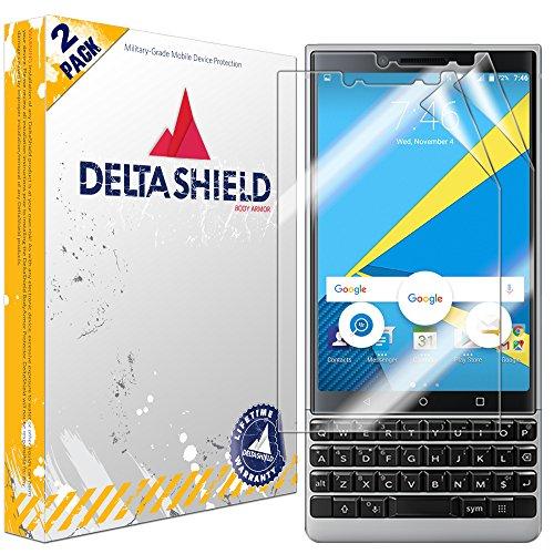 DeltaShield Screen Protector for BlackBerry KEY2 (BBF100-2)(2-Pack) BodyArmor Anti-Bubble Military-Grade Clear TPU Film