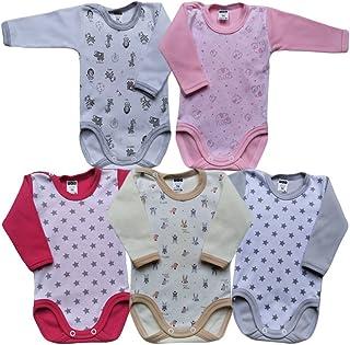 MEA BABY Unisex Baby Langarm Body aus 100% Baumwolle im 5er Pack, Baby Langarm Body mit Print, Baby Langarm Body mit Aufdruck, Baby Langarm Body für Mädchen, Baby Langarm Body für Jungen