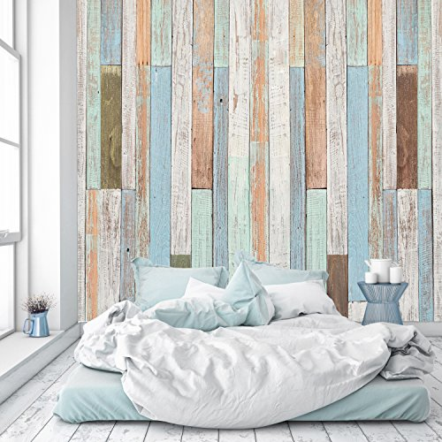 murimage Fototapete Holzoptik 274 x 254 cm inklusive Kleister Holz Pastell Maritim Vintage Holzwand Bretter Leisten 3D Used Look Tapete