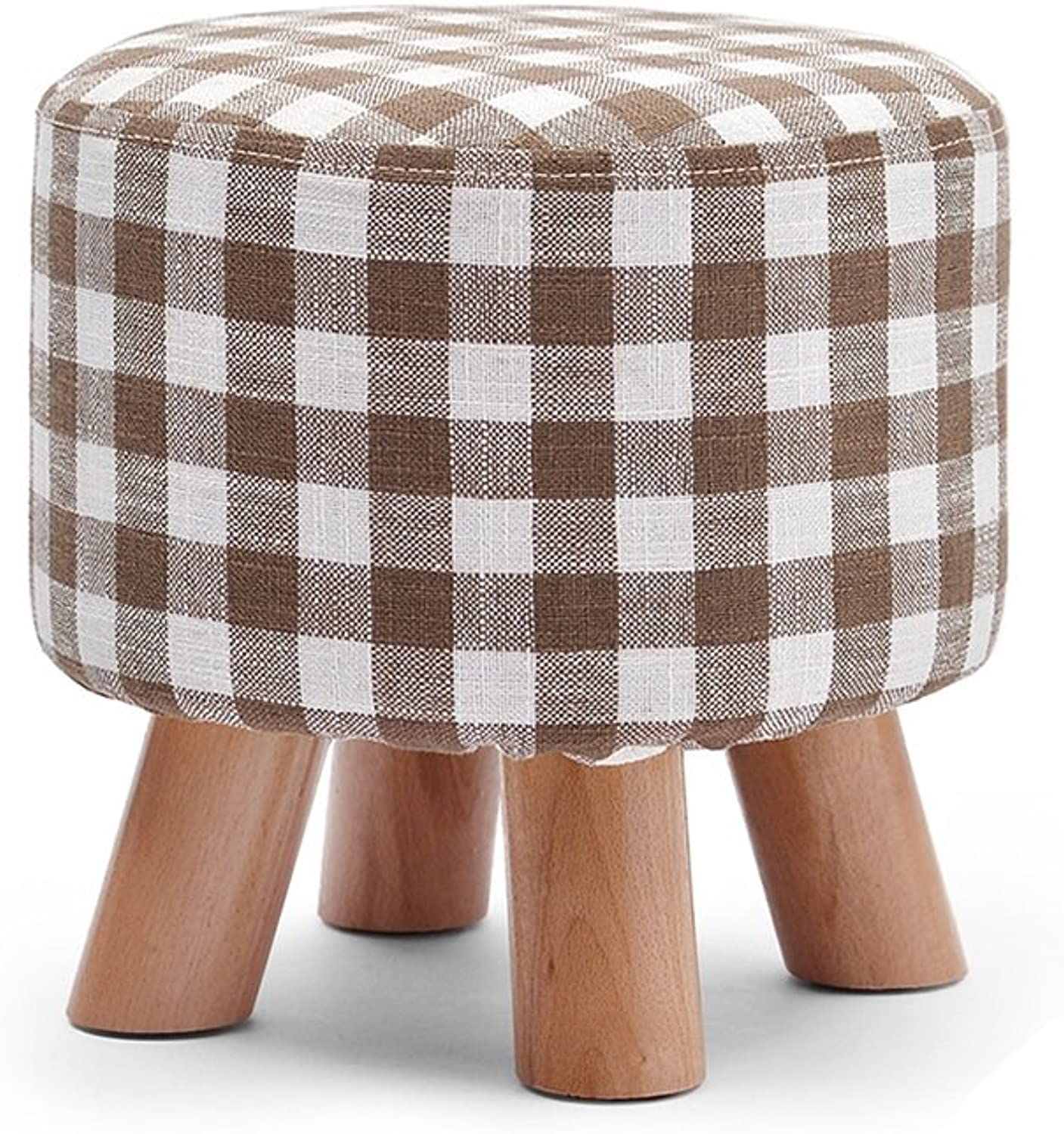 Stools Footstool Work Stool Beauty Roller Stool Bamboo Stool Solid Wood Linen Small Short Sofa Dressing Round Washable ZHANGQIANG (color   Brown, Size   4)