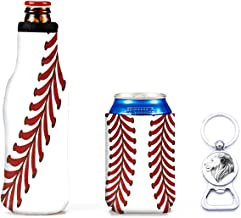 Reusable Insulated Ice Beers Can Sleeves - Beer Coozies For Cans Koozies Neoprene Cup Holder Drinks Sleeve Perfect Insulator Sleeve & Bottle Opener Used for Beer Bottles, Canned Drinks- White Softball
