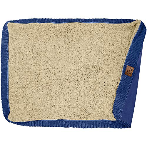 Floppy Dawg Universal Dog Bed Replacement Cover. Removable and Machine Washable Cover for Mattress and Rectangular Pillow Beds. Large 40L x 28W. Blue with Beige Top.