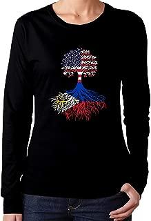 FTHX American Filipino Roots Women's Long Sleeve T-Shirt Cotton Crew Neck Tee