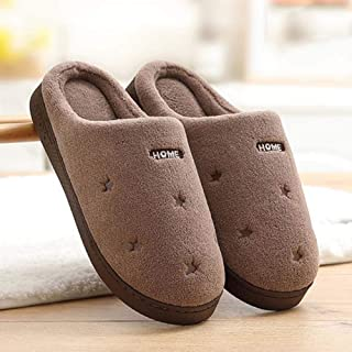 Men's Cotton Slippers Indoor Female Bag with Extra-Large Size Thick Bottom Warm Non-Slip Couple Slippers,42—43