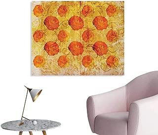 Anzhutwelve Burnt Orange Wall Paper Vintage Rose Flower Pattern Grubby Paint Texture Grunge Rusty Effects Image Art Poster Orange Tan W36 xL32