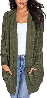 d.Stil Cardigan Lunga Donna Casuale Tasca Caldo da Autunno Invernale delle Elegante Maglione Cardigan