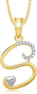 MEENAZ Stylish Jewellery Gold Plated 'S' Letter Pendant for Girls Locket Alphabet Heart Pendant for Women Men Unisex in Am...