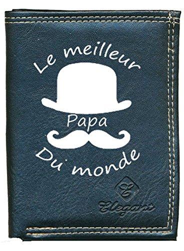 Pochette Etui Petit Portefeuille Homme Noir, Porte Monnaie, Cartes, papiers Papa Fete des Peres