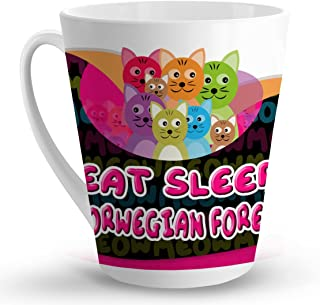 Makoroni - EAT SLEEP LOVE NORWEGIAN FOREST CAT Cat Cats - 12 Oz. Unique LATTE MUG, Coffee Cup
