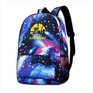 Vixerunt Fashion Starry Sky School Backpack, Seattle Supersonics Travel Backpack Shoulder Daypack for Kids Boys Girls