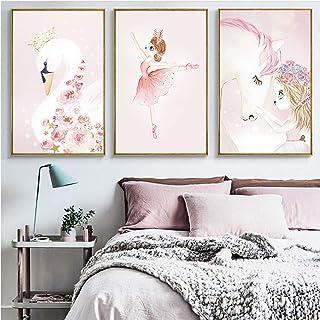 SpirWoRchlan Lot de 3 posters pour chambre d'enfant - Sans cadre photo - Pour fille - Impression d'art - Pour chambre de b...