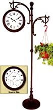 "Backyard Creations ""73"" Double Sided Pedestal Clock / Weather Station With Plant Holder"