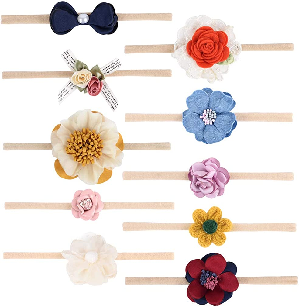 DEEKA Soft Nylon Elastic Headbands Bows Hair Bows Hair Band Hair Accessories for Baby Girls Toddle Girls
