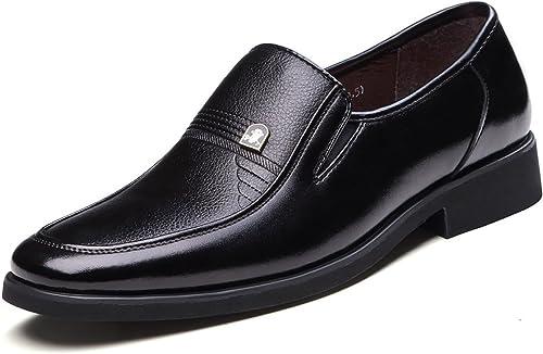 LEDLFIE Homme Chaussures Formelles D'Affaires Tête Carrée SET Pieds Chaussures en Cuir pour Hommes Chaussures Simples