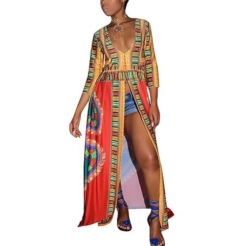 0ab7d9880f Aro Lora Women's African Print Deep V Neck 3/4 Sleeve High Slit Dashiki Long