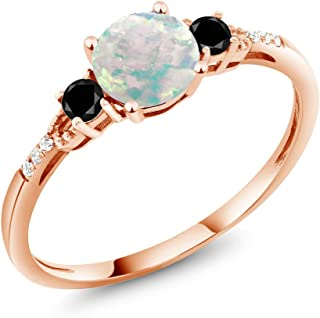0.92 Ct Round Cabochon White Simulated Opal Black Diamond 10K Rose Gold Ring (Available 5,6,7,8,9)