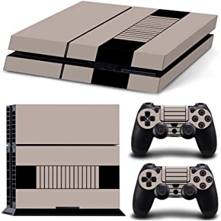Gam3Gear Vinyl Sticker Pattern Decals Skin for PS4 Console & Controller (NOT PS4 Slim / PS4 Pro) - Grey Stripe Retro Console