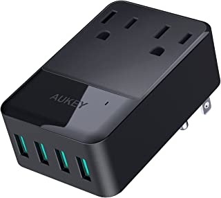 AUKEY Wall Charger with 2 Outlets and 4 USB Ports 30W USB Charger for Smartphones, Tablet, Laptop and More, ETL Certified