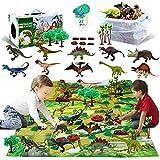 Figura de Juguete de Dinosaurio con Tapete de Juego de Actividad, Juego de 22 Juguetes de Dinosaurio, Juego de Dinosaurios para Crear un, T-Rex, Triceratops, Velociraptor, para Niños, Niños y Niñas