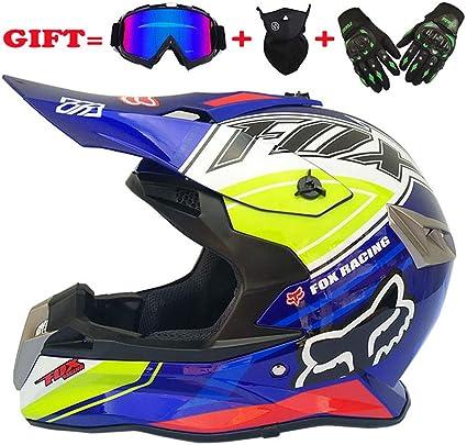 Unbekannt Adult Motocross Helm Mx Motorradhelm Atv Scooter Atv Helm Multicolor Mit Brillen Handschuhen Maske S M L Xl Xxl E Xl Küche Haushalt