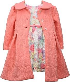Bonnie Jean 2 Pc Christmas Dress Coat Set Ice Blue Ivory Gold