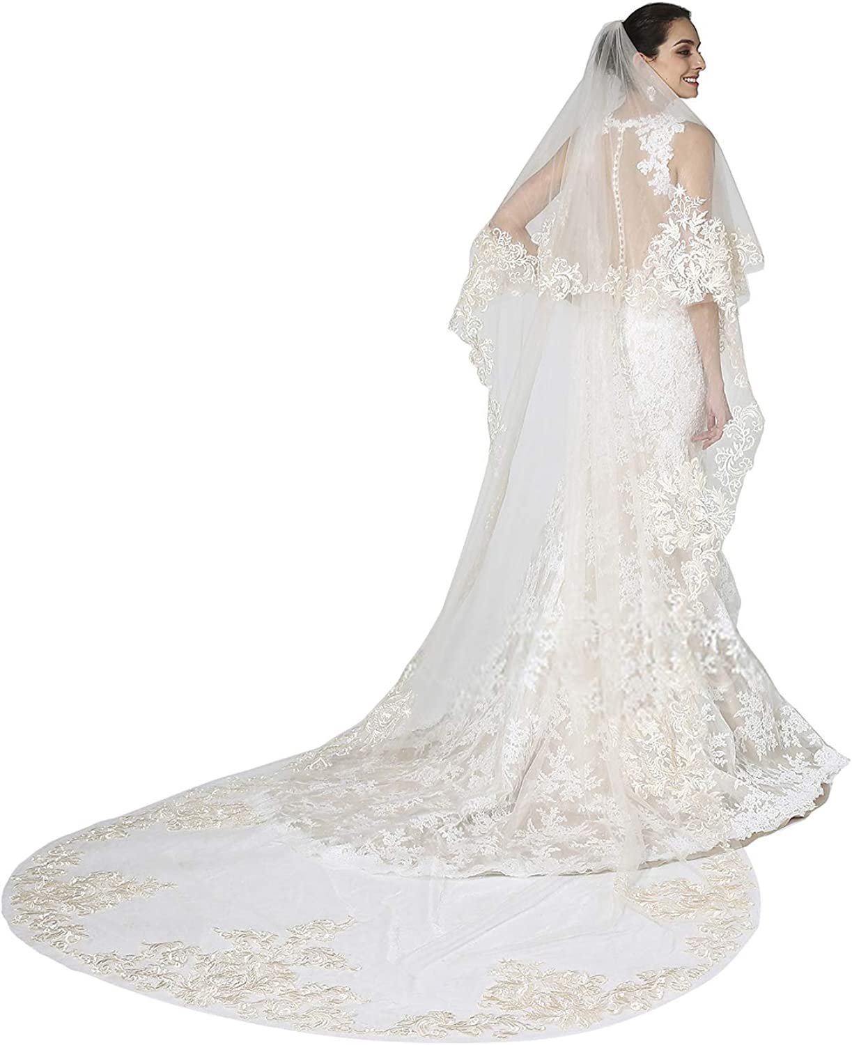EllieHouse Women's Lace Chapel Wedding Bridal Veil With Free Comb E01