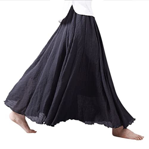 c8006be759 Ezcosplay Women Bohemian Cotton Linen Double Layer Elastic Waist Long Maxi  Skirt