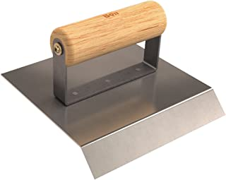 Bon 12-864 6-Inch by 6-Inch Stainless Steel Concrete Chamfer Tool with 45-Degree Radius Wood Handle