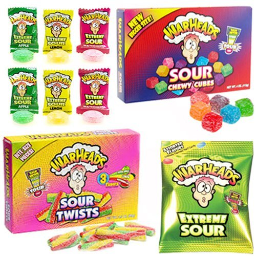 Warheads Paquete de mezcla extremadamente agria (Warheads Extreme, Warheads Sour Chewy Cubes Box, Warheads Sour Twists caja tamaño teatro tamaño caja 6 ojivas extreme)