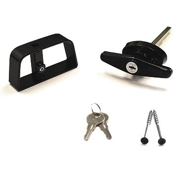 """Black T-Handle Lock, 2 Keys, 4-1/2"""" Stem, Shed, Barn, Playhouse & Chicken Coop Door Lock"""
