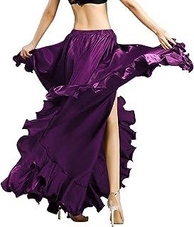 ROYAL SMEELA Bauchtanz Rock für Frauen Bauchtanz Kostüm Flamenco Rüschen Big Swing Röcke Maskerade Elastischer Bund Hoher Schlitz Maxirock Bauchtanz Kleid Tanz-Outfits