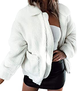 YYW Women Fuzzy Fleece Jacket Winter Casual Faux Fur Coat Zip Up Shearling Shaggy Outwear Top with Pockets (White,US S=Tag M)