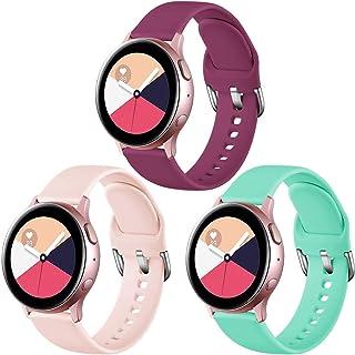 Vobafe 3 bransoletki kompatybilne z Samsung Galaxy Watch Active/Active 2 (40 mm/44 mm), miękki silikonowy pasek do zegarka...