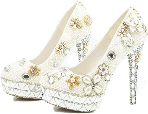 Lacitena Sandalias schuhe de damen Diamante de la Perla de la Boda schuhe Impermeables de Farbe Weiß Cristal talón de Encargo súper Tacones Altos
