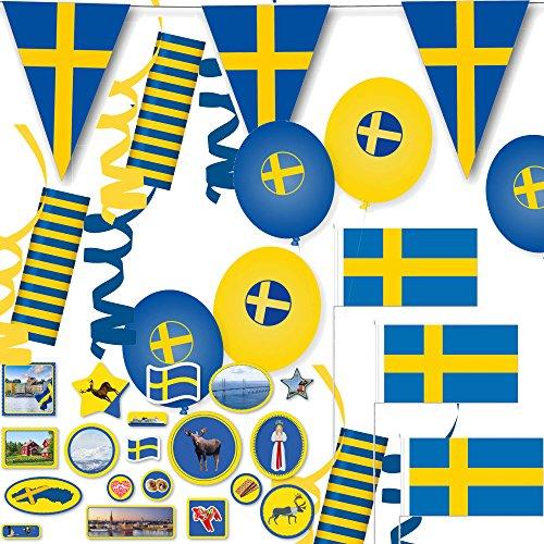 121-teiliges Deko-Set * SCHWEDEN - BLAU-GELB * für eine tolle Länder-Party mit Wimpelkette + 10 Fähnchen + 54 Luftschlangen + 57 Tisch-Konfetti + 8 Luftballons // Skandinavien Mottoparty Geburtstag