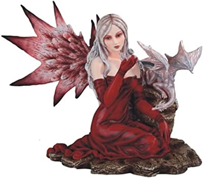 "GSC StealStreet 13.5"" Large Scale Red Fairy with Baby Dragon Statue Figurine"